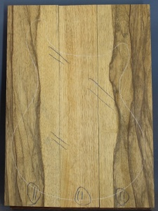 Black limba heart sap three piece body blank select grade number 11