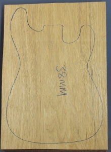 White limba single piece body blank select grade number 8, 38mm thick.