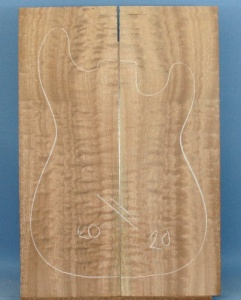 Pommelle sapele guitar top number 20 type 'B'