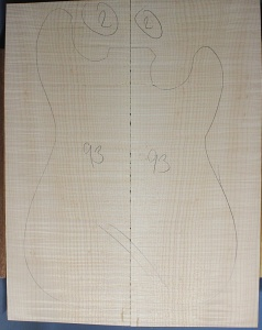 Curly maple guitar top number 93 type 'B'  strong figure