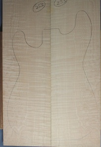 Curly maple guitar top number 253 type 'B'  highest figure