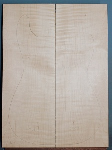 Curly maple guitar top type ' B'  light figure