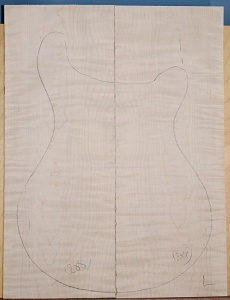 Curly maple guitar top type ' B'  light figure number 288